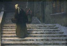Jakub Schikaneder - Na zámeckých schodech / On the Castle Stairs, Prague, Jakub Schikaneder, Color Of Night, Blood Art, Bohemian Art, Renaissance Art, Art Techniques, Art World, Dark Art