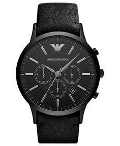 Emporio Armani Watch, Men's Chronograph Black Leather Strap 46mm AR2461