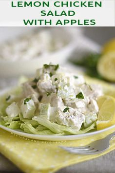 Lemon Chicken Salad with Apples is an easy homemade chicken salad recipe with a light, creamy dressing. Serve over fresh greens, in a sandwich or in wraps. Easy Salad Recipes, Fun Easy Recipes, Dinner Recipes, Easy Meals, Healthy Recipes, Amazing Recipes, Lunch Recipes, Delicious Recipes, Dinner Ideas