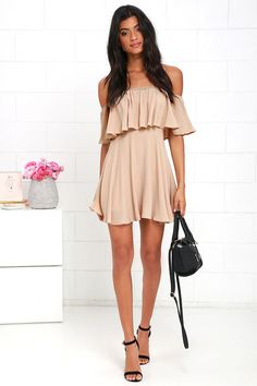 Young and in Love Beige Off-the-Shoulder Dress at Lulus.com!