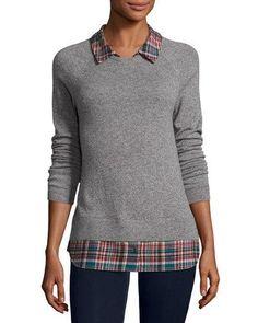 TCZVB Joie Cashmere Zaan Twofer Sweater, Gray/Deep Marine