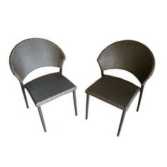 Outdoor Greatroom Company�Set of 2 Bistro Aluminum Woven Seat Patio Dining Chairs