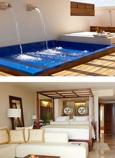 Two-Story Rooftop Terrace Suite Spa or Pool View: A two-floor suite with a private rooftop terrace features heavenly spa and pool views and your own plunge pool. King bed.