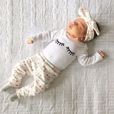 2017 Autumn style infant clothes baby girls clothing sets cotton long sleeve t-shirt+pants+headband suit baby clothes - Kid Shop Global - Kids & Baby Shop Online - baby & kids clothing, toys for baby & kid Boys And Girls Clothes, Girls Fashion Clothes, Girl Clothing, Infant Clothing, Children Clothes, Babies Fashion, Child Fashion, Young Children, Baby Boys