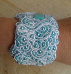 Sea Foam. Handmade, soutache bracelet. Vegan friendly.