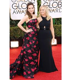 @Who What Wear - WHO: Tina Fey & Amy Poehler WHAT: Hosts WEAR: On Tina: custom Carolina Herrera black and fuchsia floral jacquard strapless gown; Fred Leighton rose-cut diamond pendant earrings, and rose-cut diamond and enamel ring. On Amy: custom Stella McCartney black cady gown with symmetric bodice and black belt; Charlotte Olympia heels.