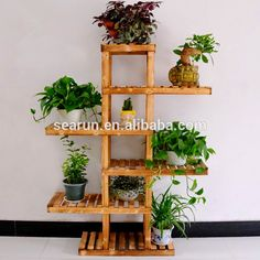 Source The new wood floor flower special multi-layer wooden flower pot holder real balcony plant she Balcony Plants, House Plants Decor, Indoor Plants, Wooden Plant Stands, Diy Plant Stand, Indoor Plant Stands, Indoor Plant Shelves, Decoration Plante, Garden Stand