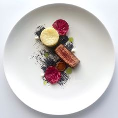 Beef Fillet, Whole Roasted Celeriac, Confit Leek, Burnt Leek, Herb Gel, Radicchio and Horseradish Crème
