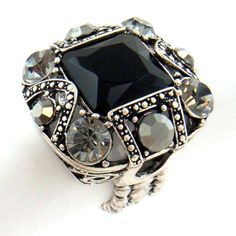 Silver Square Black Crystal Stretch Ring