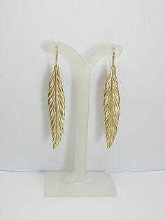 Back in stock!    Long Gold Leaf Earrings by alexawebb on Etsy, $18.00