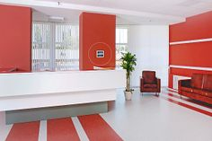 Business Office Reception White Red Colors Stock Photo (Edit Now) 7183651 Hotel Reception, Office Reception, Wallpaper Toronto, Interior Walls, Interior Design, Office Entrance, Flower Wall, Picture Wall, My Room