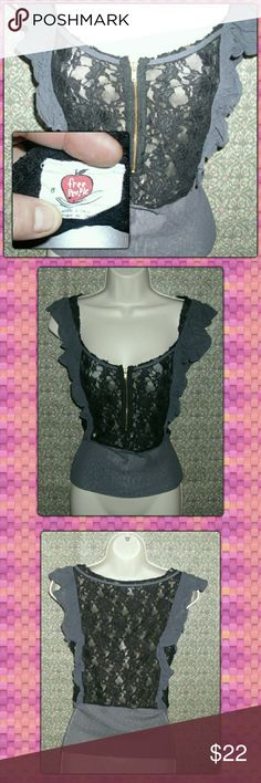 """✂✂LAST CALL!!!✂✂FREE PEOPLE LACE TOP!! Beautiful sheer lace top from Free People. Cute 6""""  front zipper! Black lace with gray trim. Free People Tops Tank Tops"""