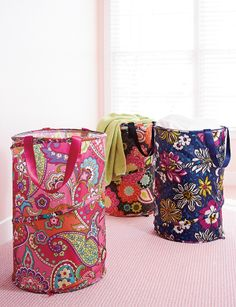 Vera Bradley Fall 2014:  Pop Up Laundry Bag in Pink Swirls, Ziggy Zinnia and African Violet #BrightestYearEver