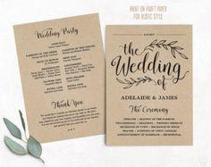 Printable Wedding Program, Wedding Program Template, Kraft Wedding Programs, Cheap DIY program, EDITABLE Text, 5x7, VW01