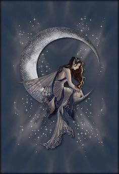 Animated Fairy sitting on the moon.... star dust glitters!