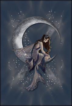 Animated Fairy sitting on the moon.... star dust glitters!