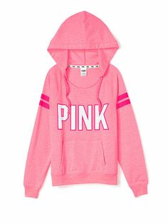 PINK Slouchy Pullover in Neon Pink $49.95  --- I love it when they use white lettering. I love how the stripes are the same coloring as the outline of the lettering.