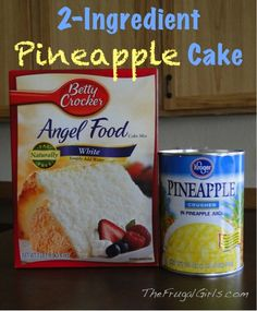 Pineapple Angel Food Fluff Cake ~ only 2 ingredients and so yummy! You can use any kind of pie filling too, I you don't like pineapples. Angle Food Cake Recipes, Cake Mix Recipes, Dessert Recipes, Angle Food Cake Dessert, Cake Mixes, Dessert Healthy, Pineapple Angel Food, Pineapple Desserts, Crushed Pineapple