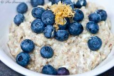 [Oatmeal] ---- Lemon Blueberry Oatmeal:: 1 c steel-cut oats, 4 c water, 4 egg whites, 1 Tbs fresh lemon zest, 1 c fresh blueberries, Honey. ---- 2 servings.