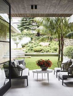 Huge, steel doors frame the picturesque front courtyard of the Taylor's Bay Residence. Created as a beautiful, green landscaped entrance to… Lush, Brisbane Architects, Small Patio Design, Zen, Front Courtyard, Outdoor Living, Outdoor Decor, Outdoor Rooms, Outdoor Sofa