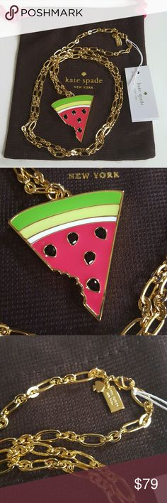 """Kate Spade Watermelon Necklace This lovely Kate Spade necklace has a large watermelon slice with a bite taken out of it. This lovely fruity red, green and white with black seeds. MSRP $98 shiny 12-karat gold plated metal with glass stones and enamel fill lobster claw closure style # O0RU1364 chain length: 34"""" (17"""" drop) Watermelon measures approx. 1.5"""" across at its longest and 1.6"""" height. Brand new and unused with dust bag! Great with your favorite summer time jeans and shirt. Other great…"""