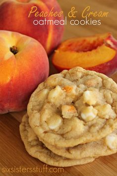 Peaches and Cream Oatmeal Cookies   Six Sisters Stuff Peaches have got to be my most favorite fruit, but combine them with my most favorite dessert, and weve got trouble. These Peaches and Cream Oatmeal Cookies are so easy to make and taste absolutely amazing. #peachesandcream #cookies
