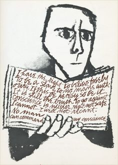 Ben Shahn:  quote from Martin Luther's statement in defense of his beliefs at the Diet of Worms in 1521