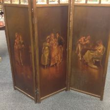 Victorian Era Dividers | Antique 3 Panel French Room Divider 19th Century. Oil On Wood Panels