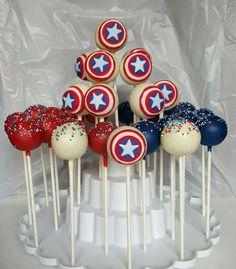 Captain America cake pops www.Facebook.com/lollipopcakess Más
