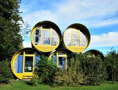 Calvin and I slept in these when we went to Switzerland 10 years ago. Hotel of recycled concrete tubes in Switzerland.On the shores of Lake of Thun Prefab Cabins, Prefab Homes, Modular Homes, Thun Switzerland, Sleep Box, Recycled Concrete, Lake Thun, Rammed Earth Homes, Forest Cottage