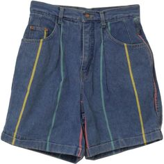 Nineties Vintage Shorts: 90s -Gloria Vanderbilt- Womens blue cotton... (1.505 RUB) ❤ liked on Polyvore featuring shorts, bottoms, short, pants, teal shorts, gloria vanderbilt shorts, striped shorts, pleated shorts and vintage denim shorts