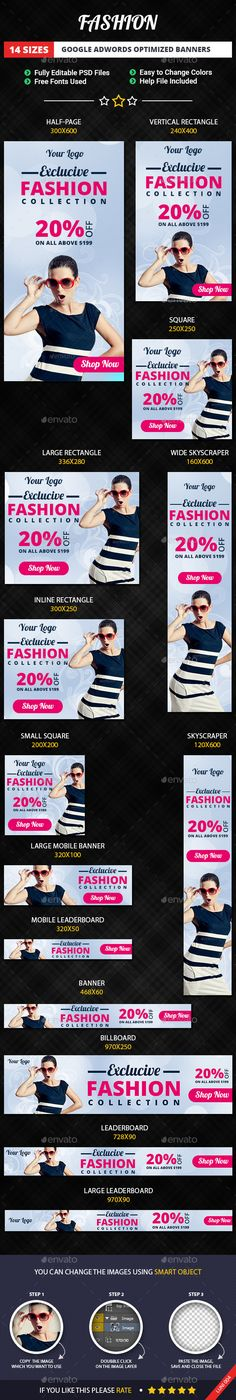 Fashion Banners — Photoshop PSD #glamorous #media • Available here → https://graphicriver.net/item/fashion-banners/11479083?ref=pxcr
