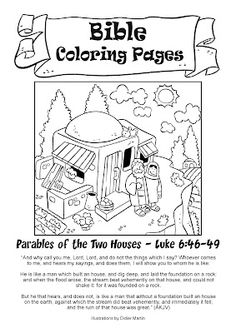 Printable Coloring sheet for Matthew 724 House Upon Rock
