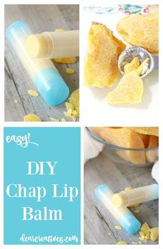 Easy Natural DIY Chap Lip Balm #naturallipbalm #organiclipbalm #diylipbalm #chaplipbalm #lipbalm #DIYbeautyrecipes DearCreatives.com
