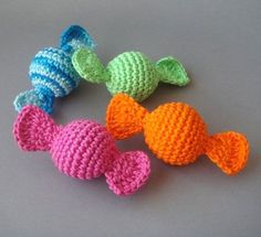 Crocheted Candy - this would be perfect for the Christmas tree - string them with tree-colored sparkly beads between!  pattern on etsy