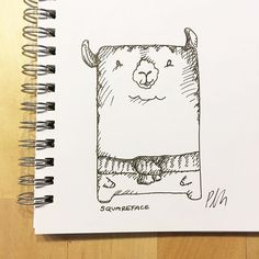 "I got inspired by one of the most strange, but incredibly adorable animals: the Llama or Alpaca. My dream is at one point to have my own flock of mini Alpacas! Here out of my ""Squareface"" collection #drawing #ink #sketchbook #llama #alpaca #squareface #inspiration #blackandwhite #picoftheday #inkonpaper"