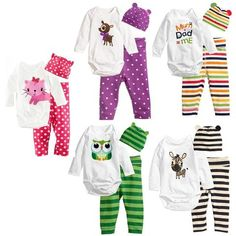 Autumn Winter Cute Newborn Baby Boys Girls Clothes Cotton Tops Long Sleeve  Romper Pants Hat Outfits 2e649ced056c