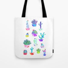 Buy Garden Cacti Tote Bag by amayab Worldwide shipping available at Just one of millions of high quality products available Watercolor Cactus illustration Plant lovers M. Watercolor Cactus, Watercolour, Cacti, Cactus Cactus, Cactus Illustration, Minimal, Reusable Tote Bags, Lovers, Botanical Art