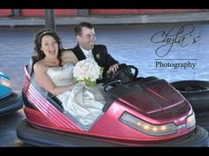Wedding photography  bumper cars Bride and groom Fun Amusement park