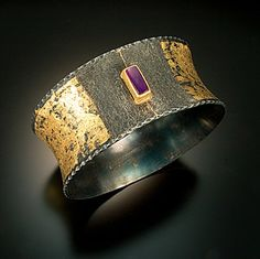 Hand-textured iron fused with 20karat gold, Bangle. The sugilite is set in a 22karat bezel. Chris Nelson
