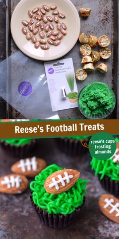 football food Easy super bowl or game day snack, reeses football treats! You need peanut butter cups, green frosting and football almonds! Soccer Treats, Football Treats, Football Food, Superbowl Desserts, Easy Desserts, Delicious Desserts, Game Day Snacks, Game Day Food, Peanut Butter Cups