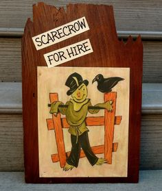 Hand Painted Halloween Sign Primitive Halloween Sign Fall Scarecrow Wood Sign #halloween #sign #decor www.loveitsomuch.com