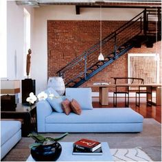 Lots of brick and a nice, big staircase