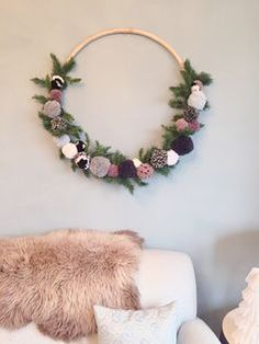 Giant Hula Hoop or Smaller Embroidery Hoop Pom Pom Wreath Yarn Crafts, Diy And Crafts, Kids Crafts, Christmas Wreaths, Christmas Crafts, Christmas Decorations, Wall Decorations, Pom Pom Decorations, Christmas Christmas