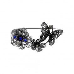 Broche fleurs métalliques