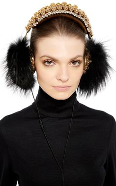 Fox Fur And Swarovski Crystal Embellished Headphones by DOLCE & GABBANA Now Available on Moda Operandi