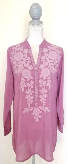JOHNNY WAS ROSE TUNIC WITH FLORAL EMBROIDERY SIZE S LONG SLEEVE TOP BLOUSE #JohnnyWas #Tunic #silverhair #forsale #ebay #embroidery