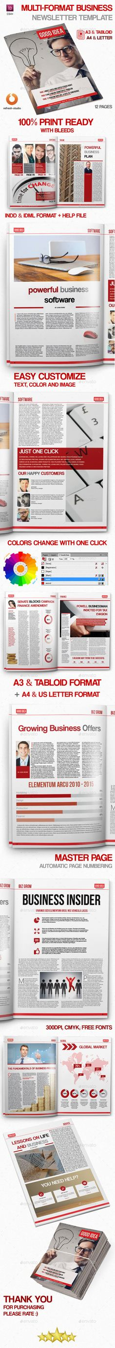 Multi format Business Newsletter Template Indesign Newspaper Template