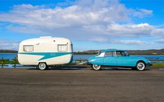You have to have a matching car and trailer. You have to have a matching car and trailer. Caravan Vintage, Vintage Rv, Vintage Caravans, Vintage Travel Trailers, Small Campers For Sale, Rv For Sale, Retro Campers, Camper Trailers, Vintage Campers