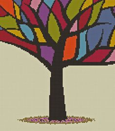 Stained Glass Tree Cross Stitch Pattern  PDF  Instant